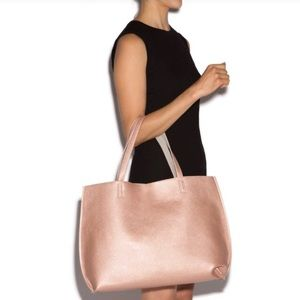 NWT Just Fab Rose Gold / Grey Reversible Tote